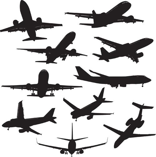 Silhouette aircraft set vector 02