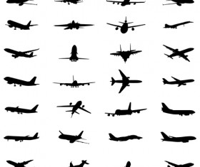 Silhouette aircraft set vector 03