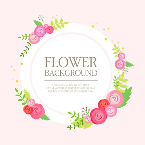 Simlpe Flower Frame Backgrounds Vector 01 Vector