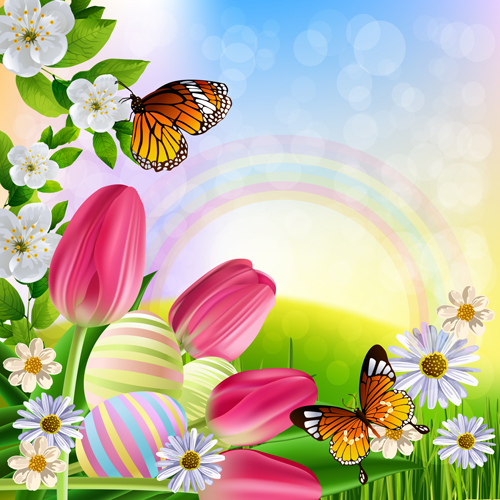 Free EPS file Spring flower beautiful backgrounds vectors 14 download