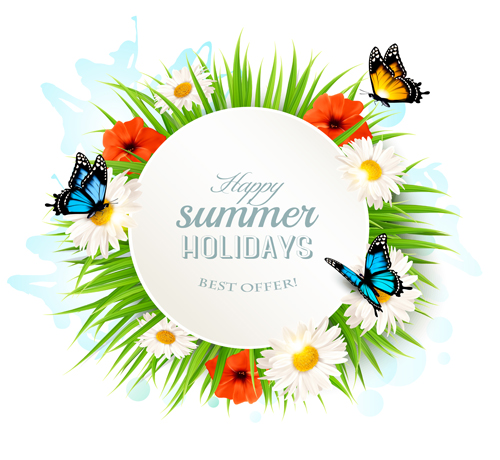Summer holday background with green grass and butterflies vector 02