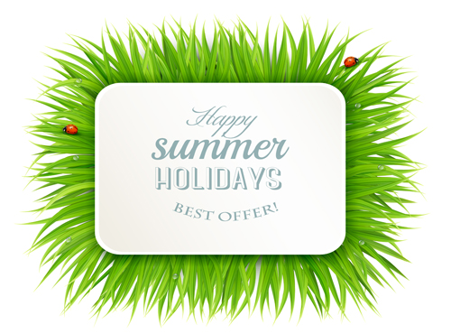 Summer holday green grass and ladybird vector background 01