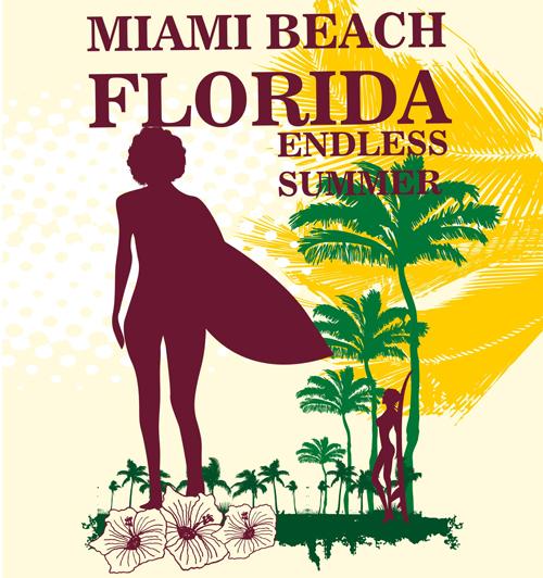 Summer holiday miami beach poster vector 09