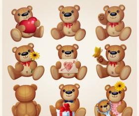 Toy bear cute vector set
