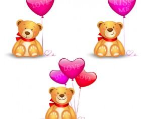 Toy bear with heart balloon vector