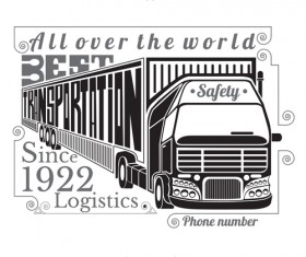 Truck silhouette with transportation logistics background vector 01