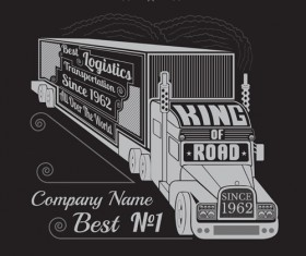 Truck silhouette with transportation logistics background vector 02
