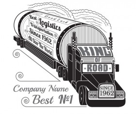 Truck silhouette with transportation logistics background vector 03