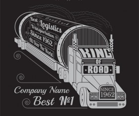 Truck silhouette with transportation logistics background vector 04