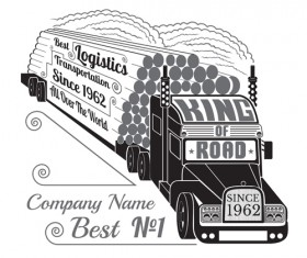 Truck silhouette with transportation logistics background vector 05