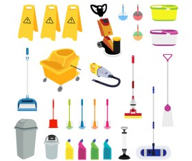 Various cleaning tools vector huge collection 04