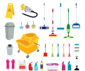 Various cleaning tools vector huge collection 05