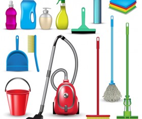 Various cleaning tools vector huge collection 06