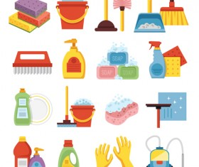 Various cleaning tools vector huge collection 07