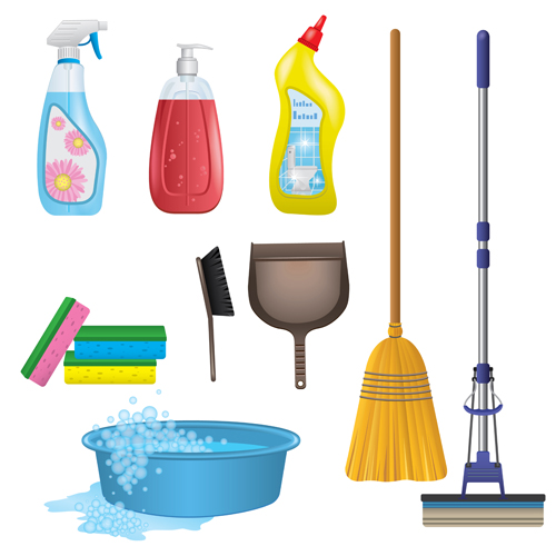 Various cleaning tools vector huge collection 09
