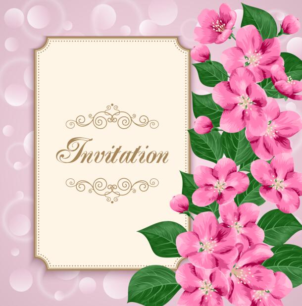 vintage floral invitation card template 02 free download
