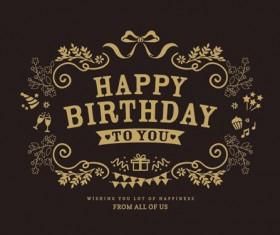 Vintage happy birthday vector labels