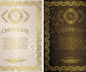 Vintage luxury certificates template set vector 05