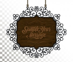 Vintage wooden signboard with Iron floral frame vector 02
