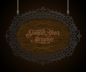 Vintage wooden signboard with Iron floral frame vector 03