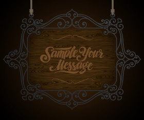 Vintage wooden signboard with Iron floral frame vector 04
