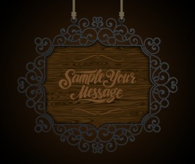 Vintage wooden signboard with Iron floral frame vector 05