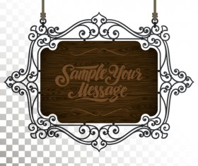 Vintage wooden signboard with Iron floral frame vector 06