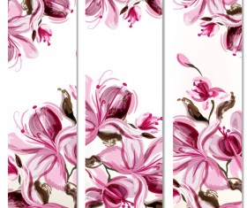 Watercolor magnolia flowers painted banners vector