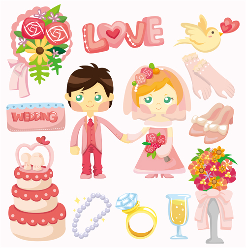 Wedding elements set vector