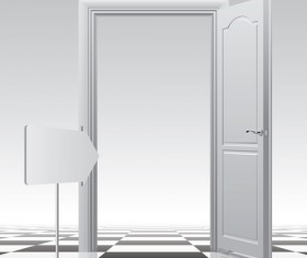 White doors design vector material 02