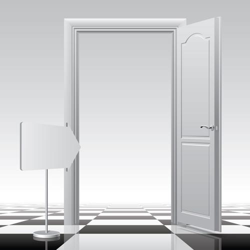 White doors design vector material 02