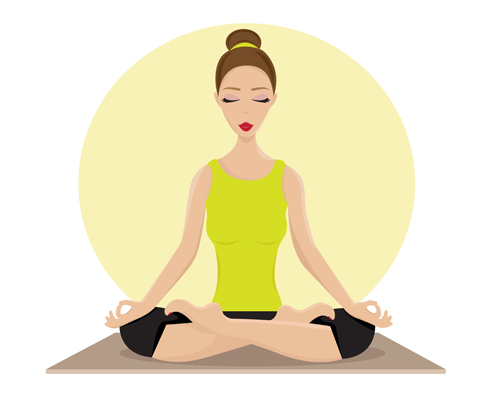 Woman doing yoga design vector set 01