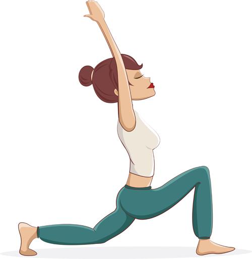 Woman doing yoga design vector set 08