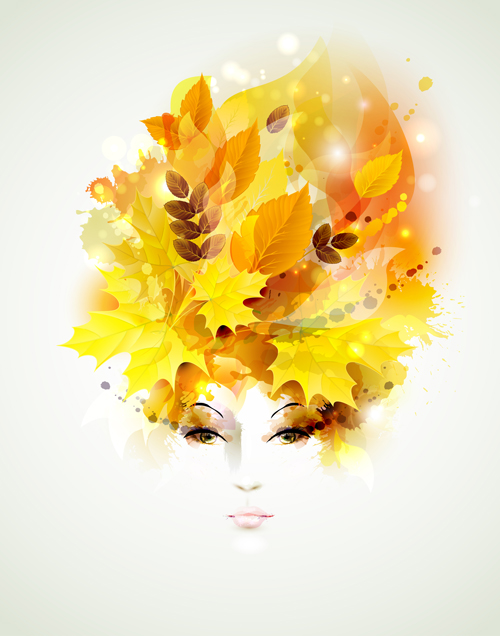Women face with autumn leaves vector 01