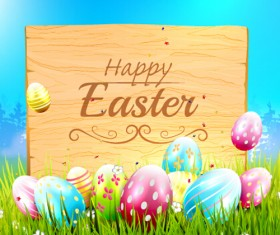 Wood billboard with easter background vector
