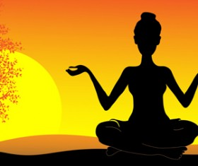 Yoga pose silhouetter with sunset background set 01