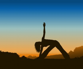 Yoga pose silhouetter with sunset background set 02