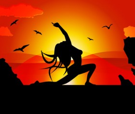 Yoga pose silhouetter with sunset background vector 02