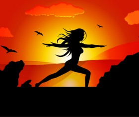 Yoga pose silhouetter with sunset background vector 03