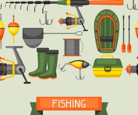 fishing supplies vector illustration vector 02