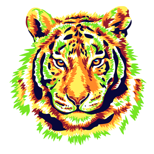 green tiger head vector