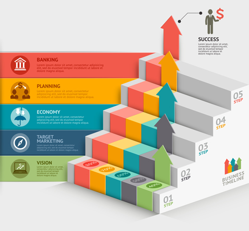 ladder with business template vector 02 free download