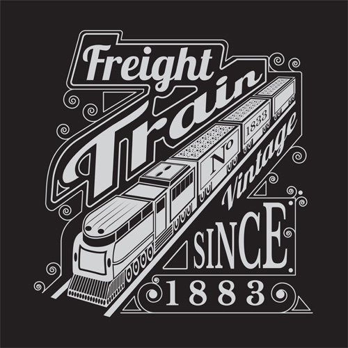 old freight train vector background