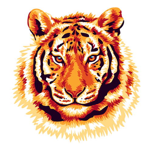 red tiger vector - Vector Animal free download