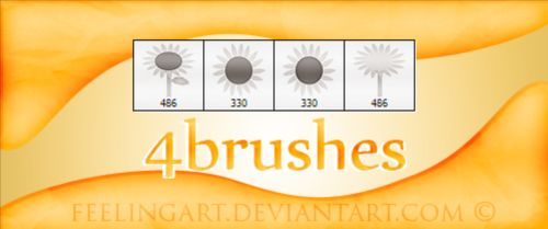 4 Kind sunflowers brushes