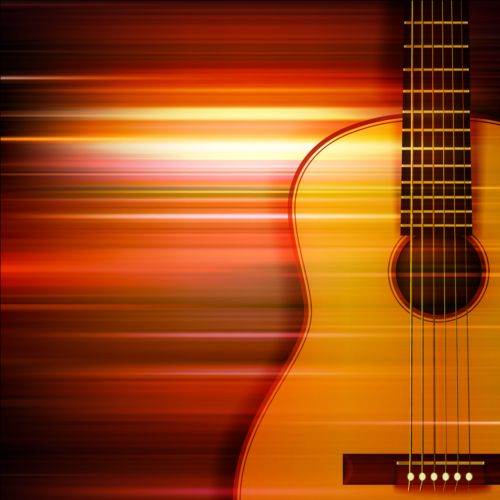 Abstract Music Background With Acoustic Guitar Vector Microphone Graffiti
