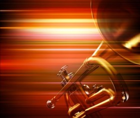 Abstract music background with trumpet vector