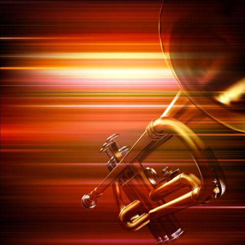 abstract music background with trumpet vector vector