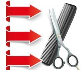 Arrow with scissors comb vector 01