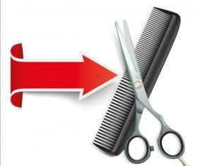 Arrow with scissors comb vector 02